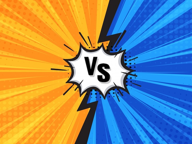 Comic fighting cartoon background. blue vs yellow. vector illustration.