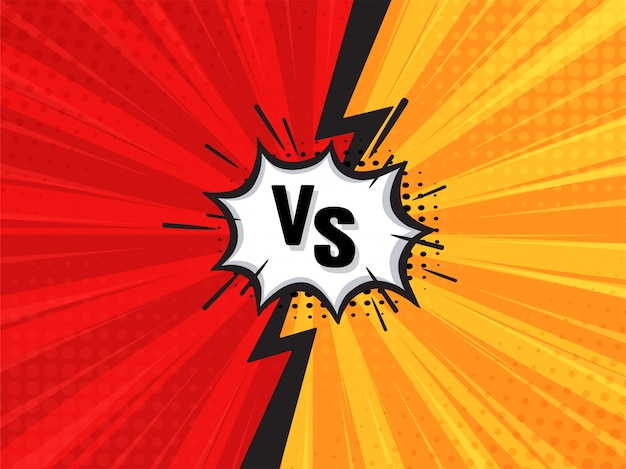Comic fighting cartoon background. red vs yellow. vector illustration.