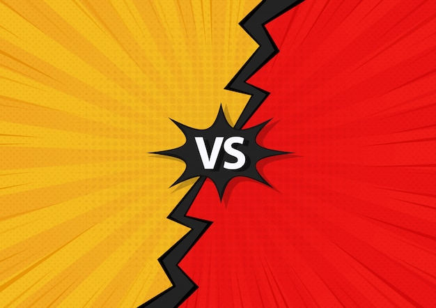 Comic fighting cartoon background.yellow vs red. vector illustration design.