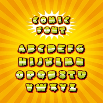 Comic font alphabet pop art