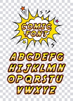 Comic font alphabet pop art