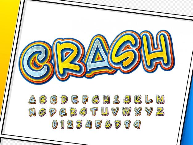 Comic font. cartoonish alphabet on comic book page