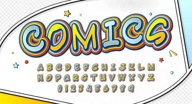 Comic font. cartoonish alphabet on comic book page