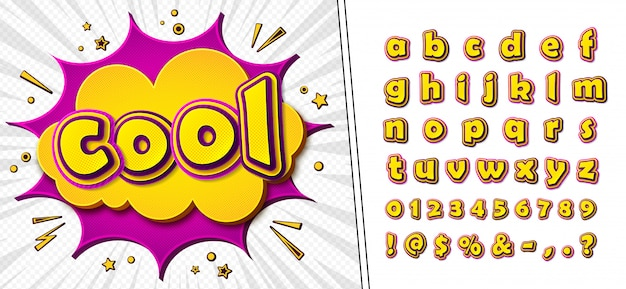 Comic font. cartoonish yellow-pink  alphabet on comic book page