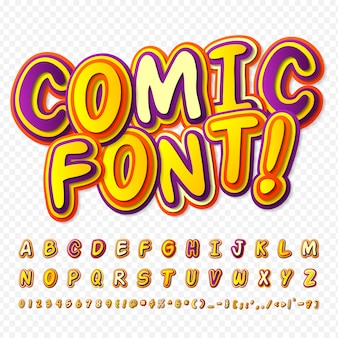Comic font. colorful alphabet in style of comics, pop art