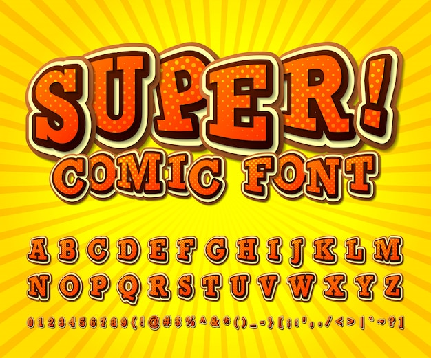 Comic font. orange alphabet in style of comics, pop art.
