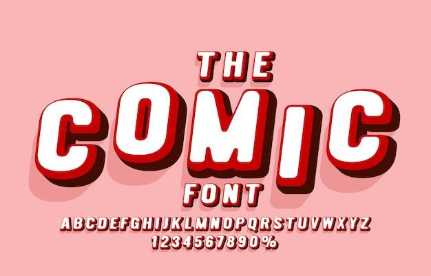 만화 글꼴 집합 컬렉션 문자와 숫자 기호 벡터