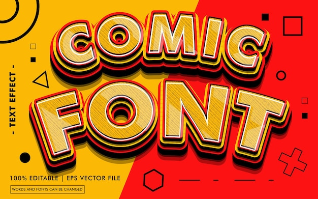 Comic font text effect style