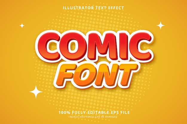 Comic font text effect