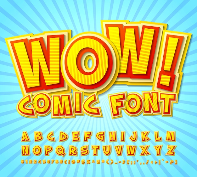 Comic font. yellow-red alphabet in style of comics, pop art