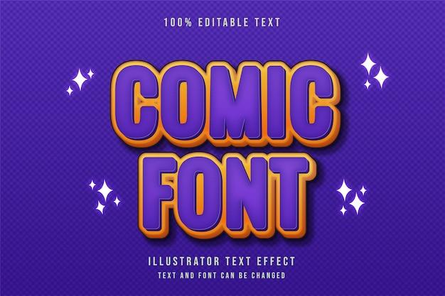 만화 font3d 편집 가능한 텍스트 효과 보라색 그라데이션 노란색 현대 만화 스타일