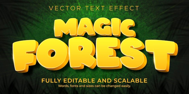 Comic forest text effect; editable cartoon and funny text style