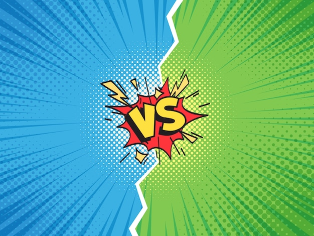 Comic frame vs. versus duel battle or team challenge confrontation cartoon comics halftone   template