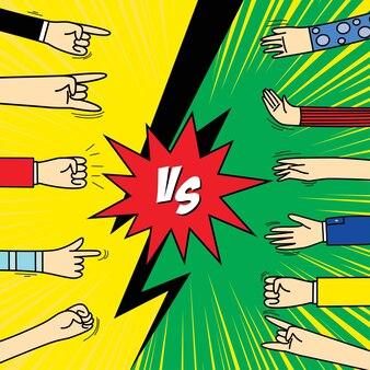 인간의 손 제스처 신호 및 기호가 있는 만화 프레임 vs