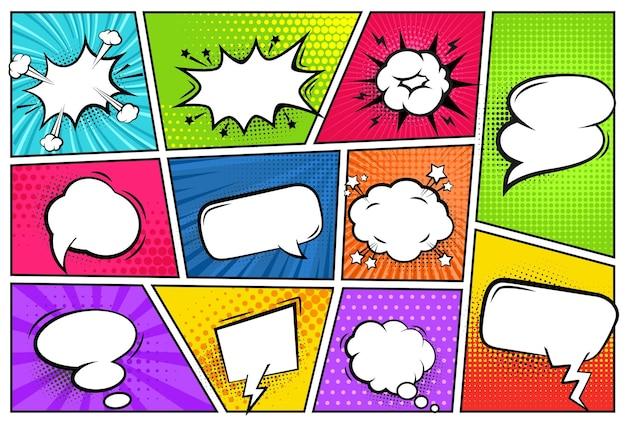 Comic frames with speech bubbles talk balloons with pop art backdrop set