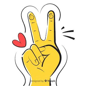 Comic hand peace symbol background