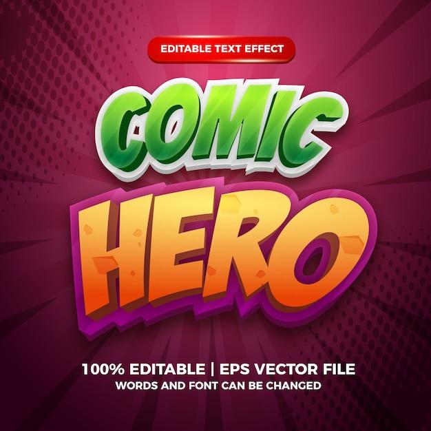 Comic hero cartoon editable text style effect template
