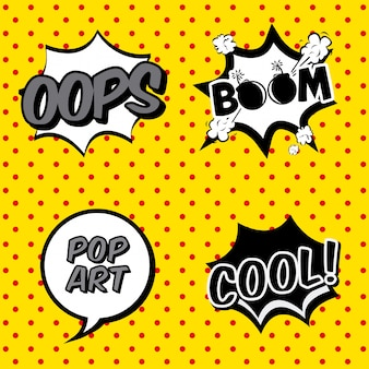 Comic icons over dotted background vector illustration