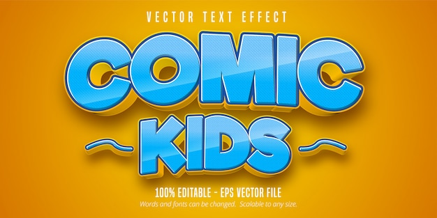 Comic kids text, comic style editable text effect