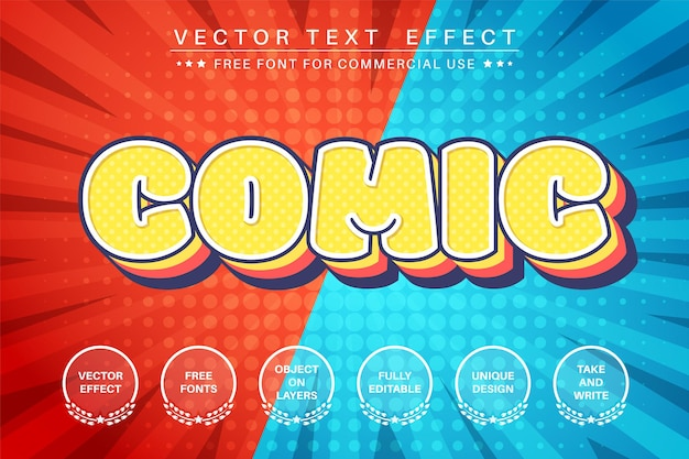 Comic layer - editable text effect,  font style.