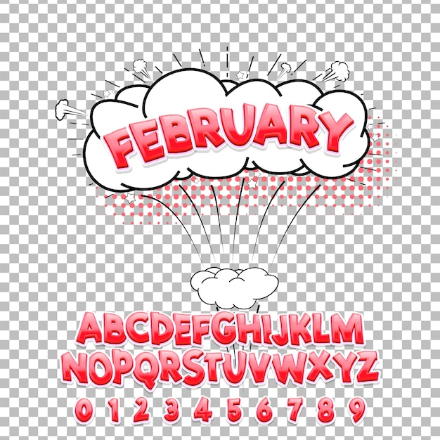 Comic lettering font february 3d. vector alphabet