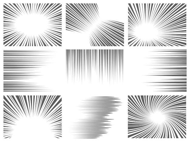 코믹 라인 효과. 만화 및 애니메이션을 위한 방사형 및 수평 속도 모션 텍스처. 폭발, 플래시 및 빠른 작업 라인 벡터 그래픽 세트. 슈퍼 히어로 만화의 줄무늬가 있는 배경