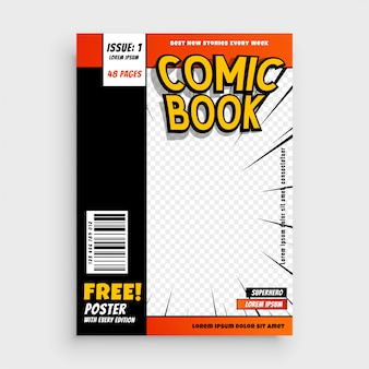 Comic magazine book cover layout design
