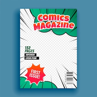 Comic magazine book cover page template