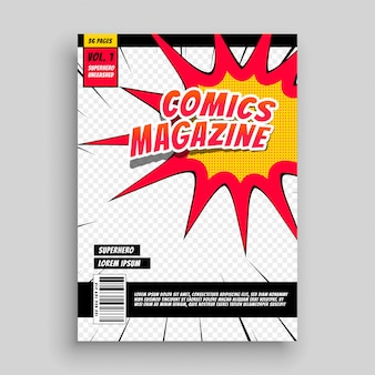 Comic magazine book cover template