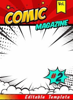 Comic magazine book cover template
