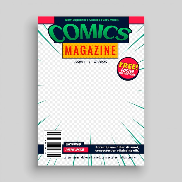 Comic magazine book front page template