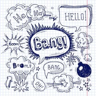 Comic контур пустой текст речи пузыри на квадрат фон набор векторных иллюстраций