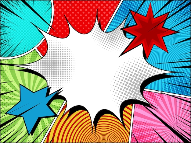 Comic page bright background with blank speech bubble colorful clouds explosive black rays and different humor effects