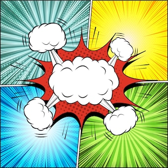 Comic page explosive illustration with blank white speech bubble clouds halftone dotted radial and rays effects in pop-art style.