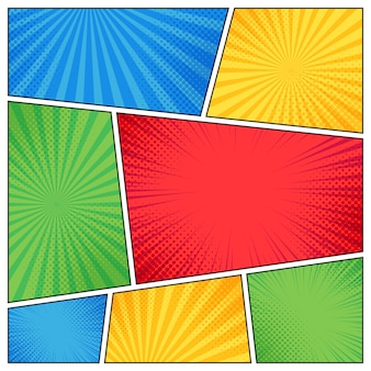 Comic page frame. funny superhero comics book empty pages with radial lines or stripes  template