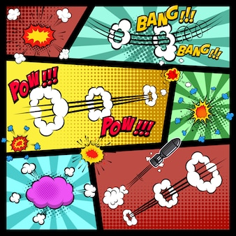 Макет страницы комиксов с цветным фоном. поп-арт речи пузыри. элемент для плаката, открытки, печати, баннера, флаера. образ