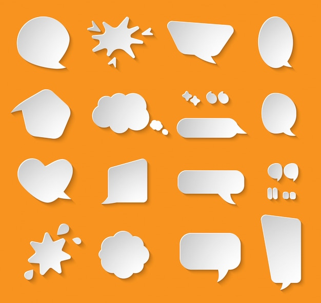 Comic paper cut speech bubble set.