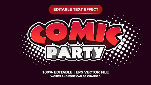 Comic party editable text effect