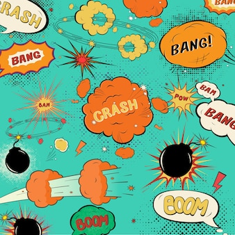 Comic pattern with speech bubbles and explosions on green background.