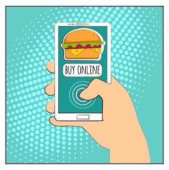ハーフトーンの影とハンバーガーを備えたコミックフォン。スマートフォンを手に持ってオンラインインターネットショッピングを購入する