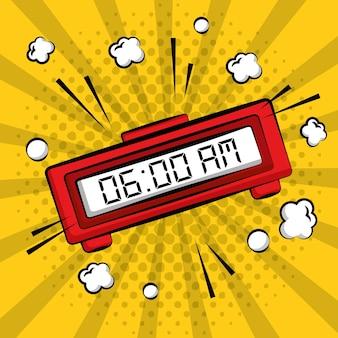 Comic pop art alarm clock digital yellow sunburst background