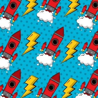 Comic pop art background rocket crash decoration retro