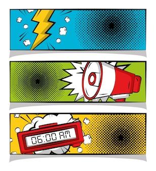 Comic pop art banners crash megaphone and alarm clock halftone