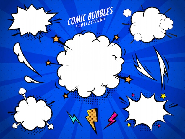 Comic pop art bubbles set