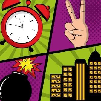 만화 팝 아트 페이지 책 평화와 사랑 시계 붐