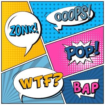 Comic pop art style blank background.