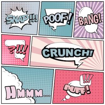 Comic pop art style words.