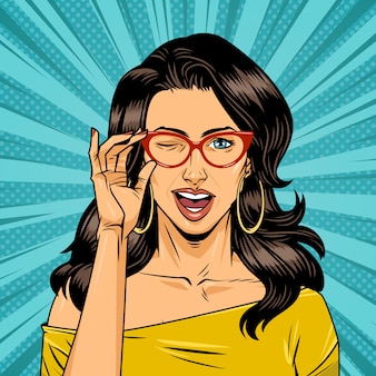 Comic pretty girl with gasses on halftone background