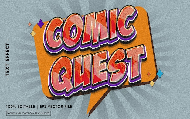 Comic quest text effect style