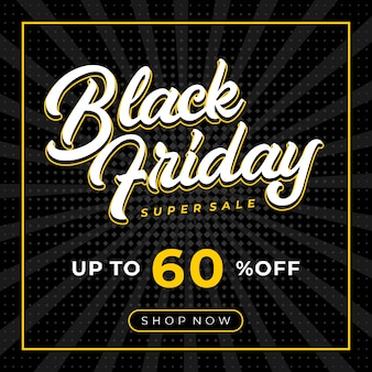 Comic ray and dots background black friday sale banner